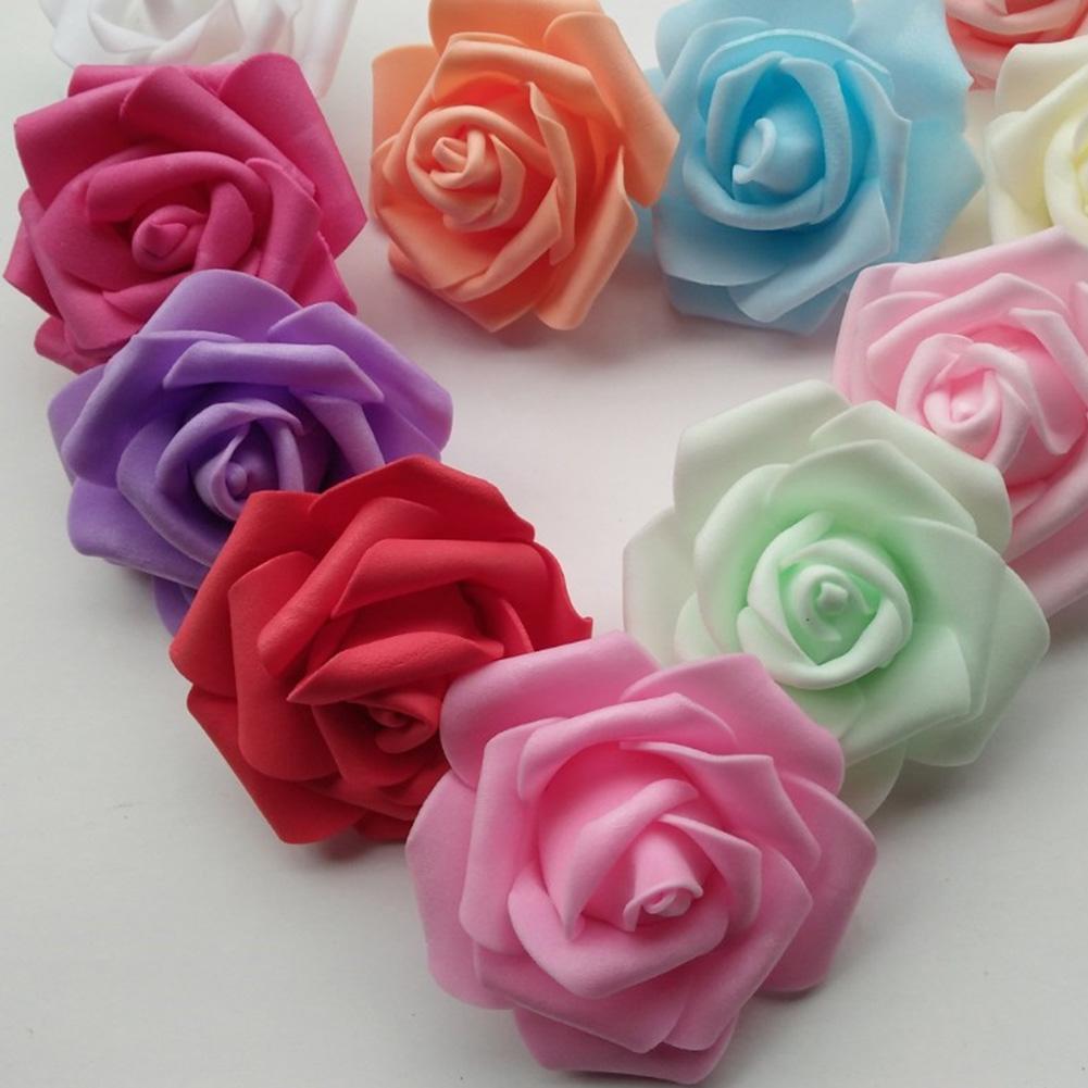 25/50/100Pcs Vivid Non-toxic PE Foam Artificial Rose Flowers Head Wedding Room DIY No-Fading Home Decor