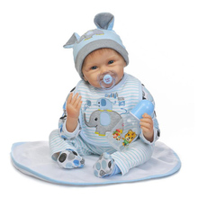 купить 55cm Reborn Doll Full Silicone Reborn Baby Doll Toy Lifelike Newborn Babies Dolls Lovely Birthday Christmas Gift Toys For Kids дешево
