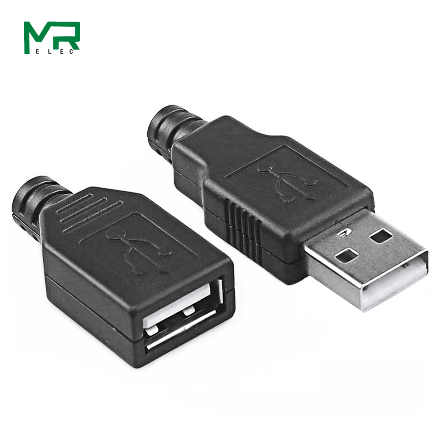 Hot New 10pcs Type A Male USB 4 Pin Plug Socket Usb Connector With Black Plastic Cover