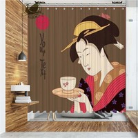 Vixm Japanese Culture Shower Curtains Poster Waterproof Polyester Fabric Bathroom Curtains For Home Decor