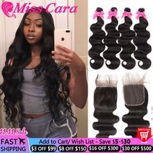 Miss Cara Remy Body Wave 4X4บราซิลทอผม100% Human Hair 3/4ชุดพร้อมปิด
