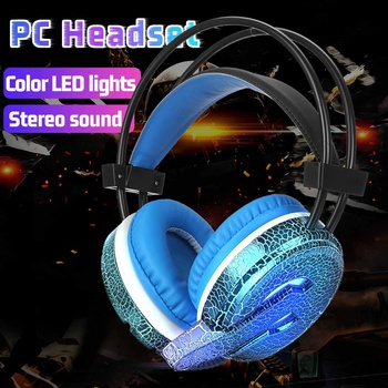 4pcs 7 Colors Gaming LED Headphone Keyboard Mouse Pad Set with Mic Gamer Backlight Keyboards Full Set PC Tablet Cellphone Stereo