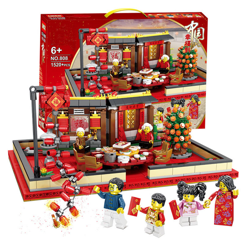 Chinese Spring Festival New Year's Eve Family Dinner Dragon Dance Compatible With Legoinglys Block Bricks Toys For Children