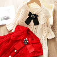 Autumn and winter new temperament small fragrance large lapel hollow sweater dress long chic sweater women's jacket