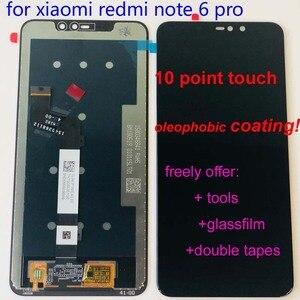 Image 4 - Оригинальный ЖК дисплей 6,26 дюйма для Xiaomi Redmi Note 6 Pro Global, сенсорный экран в сборе, дигитайзер, сенсорный экран, запчасти + 10 точек + рамка