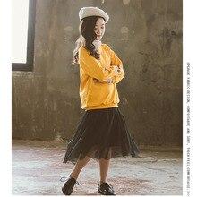 2019 Autumn Winter Girls Clothes Suit Korean Casual Fashion Solid Hoodies + Mesh Skirt 2Pcs Kids Set 7 8 9 10 12 Y