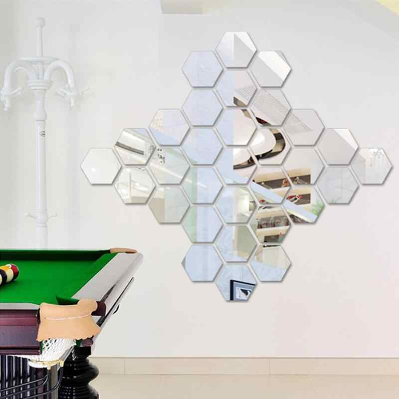 12Pcs Hexagonal Acrylic Cermin Dinding Stiker Dekorasi Rumah Ruang Tamu DIY Seni Modern Cermin Dinding Mural Dekorasi Dapur