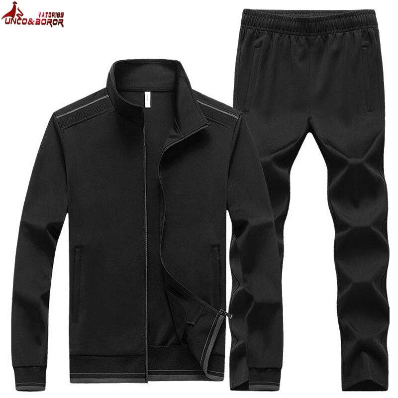 New Men's Sportswear Sets Male Casual Training Tracksuit Men 2 Piece Fleece Sweatshirt + Sweatpants Running Joggers Sports Suit