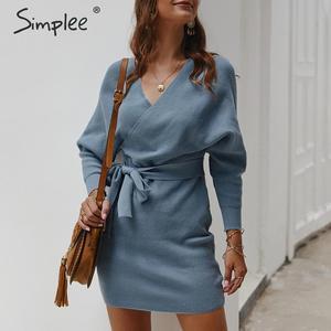 Image 2 - Simplee Vestido corto de punto para mujer, vestido con cuello en V y cinturón, vestido informal vintage de talle alto para oficina para Otoño e Invierno