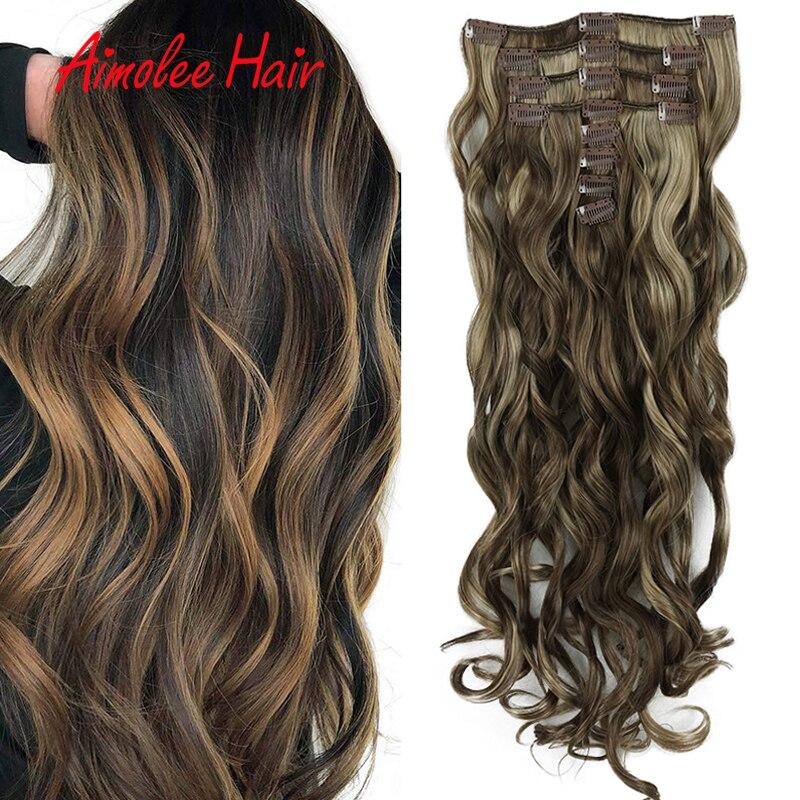 24 дюймов длинные волнистые синтетические волосы на клипсах, накладные волосы на заколке для Для женщин 8 шт./компл. 16 клип натуральные шиньоны искусственные волосы 270g