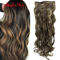 24inch Long Wavy Synthetic Clips In Hair Extensions For Women 8Pcs/set 16 Clip Natural Hairpieces Fake Hair 270g