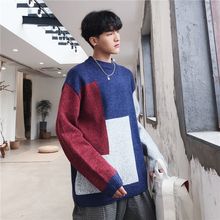 Winter Sweater Men Warm Fashion Contrast Color Stitching Casual O-neck Knit Pullover Man Streetwear Loose Long-sleeved