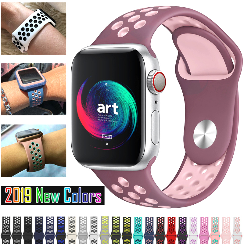 2019 New Band For Apple Watch 4 5/3/2/1 42mm 38mm 40mm 44mm 36 Colors Bracelet NI KE Silicone Strap For Iwatch Sports Series 5 4