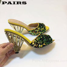 Shoes Women Luxury-Designed Heels Mules Golden-Slipper Upper-Party Sexy Plus-Size Genuine-Leather