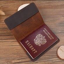 Couverture de passeport russe en cuir véritable, couverture gravée pour passeport en cuir complet, cadeau pour lui