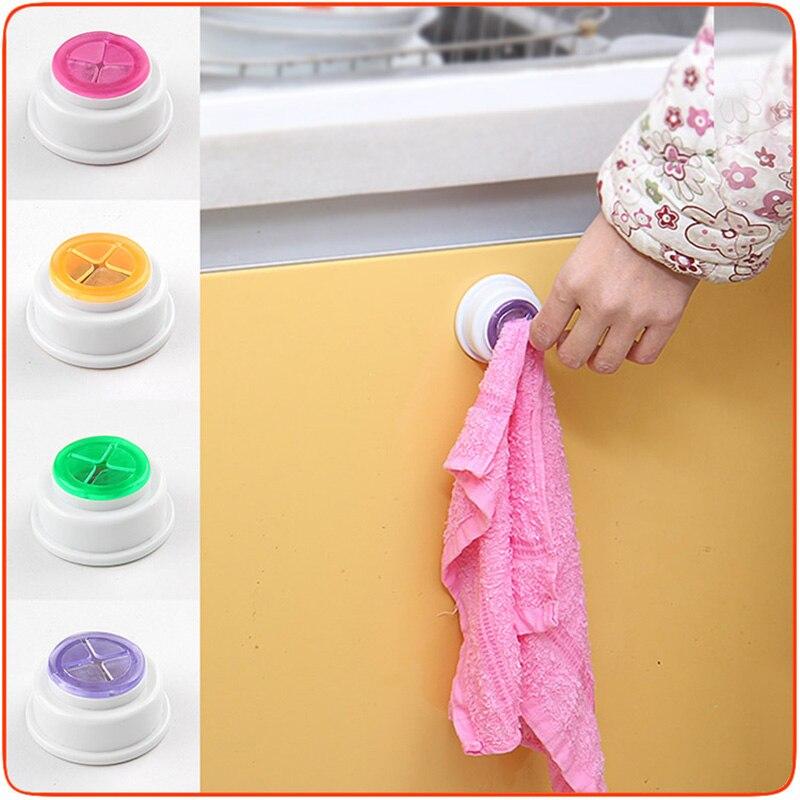 Kitchen Wash Cloth Clip Holder Dishclout Storage Rack Towel Rag Hook Clip Bathroom Adhesive Kitchen Storage Towel Racks