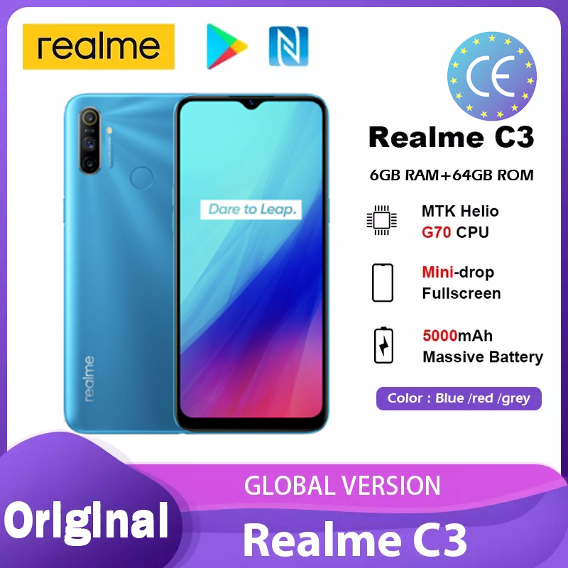 Realme C3 глобальная версия, 3 Гб оперативной памяти, 64 ГБ 5000 мАч Helio G70 процессор 12MP AI двойной Камера полноэкранный NFC Android-смартфон смартфоны