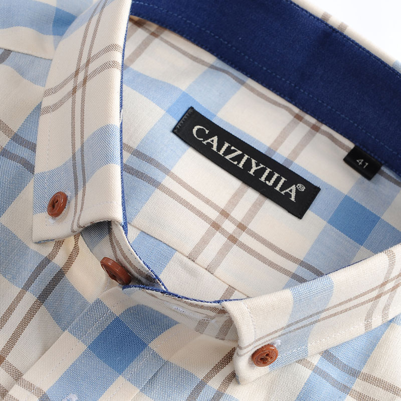 Men's 100% Cotton Long Sleeve Contrast Plaid Checkered Shirt Pocket-less Design Casual Standard-fit Button Down Gingham Shirts 2