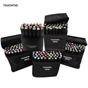 Image 1 - TOUCHFIVE 24/30/40/60/80 צבעים כפול בראשות אמנות סמני סט מבוסס אלכוהול סמני ציור עט מנגה סקיצה מרקר עטי עיצוב