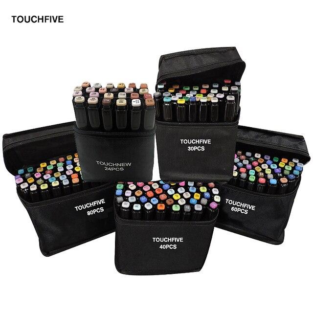 TOUCHFIVE 24/30/40/60/80 צבעים כפול בראשות אמנות סמני סט מבוסס אלכוהול סמני ציור עט מנגה סקיצה מרקר עטי עיצוב