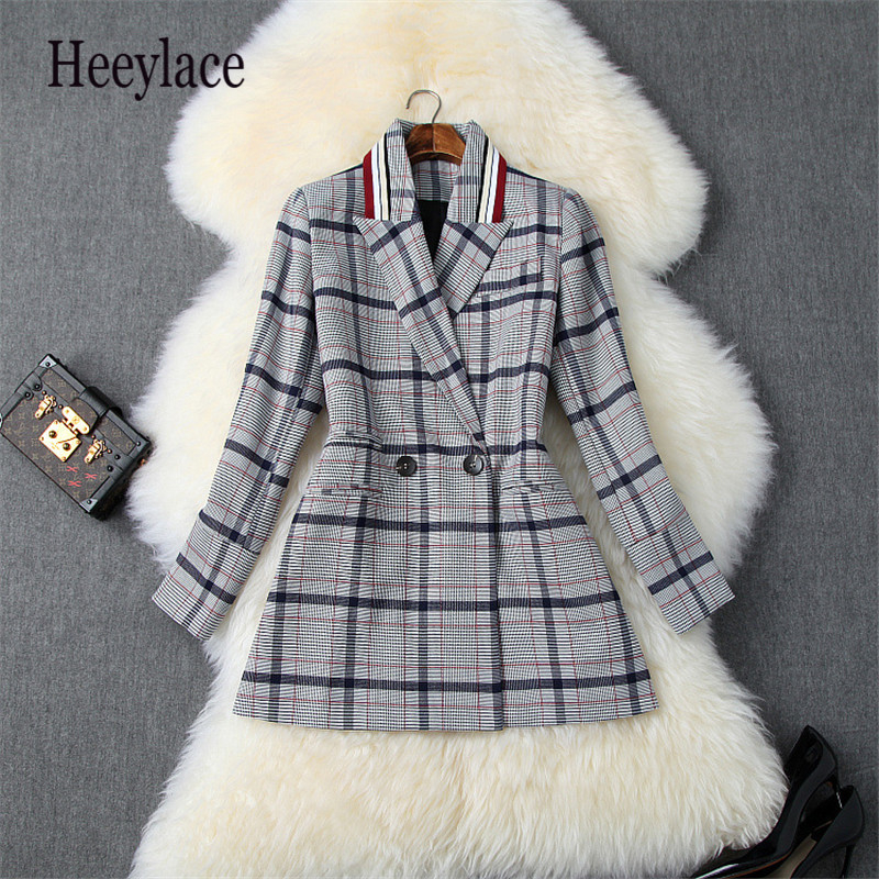 Autumn Winter Office Lady 2019 Korea Plaid Blazer Suit Long Sleeve Turn Down Casual Coat Jacket Women Blazers Female Outerwear