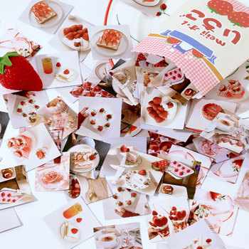 46Pcs/box A strawberry stickers diy decoration diary photo album scrapbooking planner label sticker stationery 50pcs box cute label stickers for diy decoration diary album scrapbooking stationery stickers
