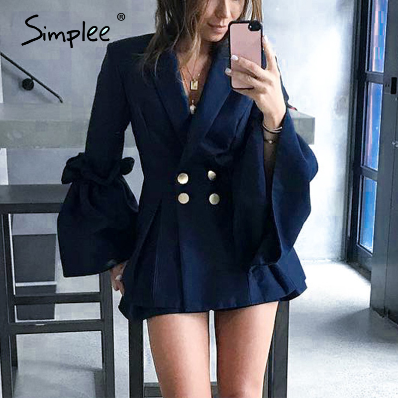 Simplee Flare Sleeve Double Breasted Suit Ruffles Splice Women Blaser Vintage V Neck Autumn Winter Coat Office Lady 2018