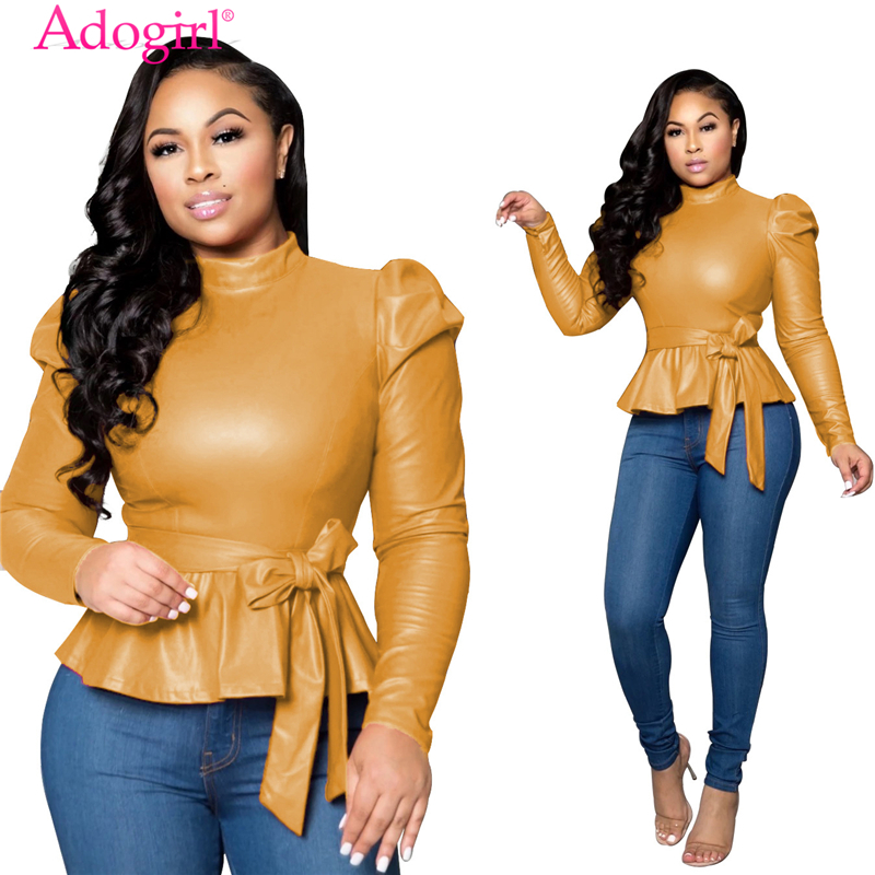 Adogirl Solid PU Leather Peplum Top 2019 Autumn Winter Turtleneck Long Puff Sleeve Fashion Casual Shirt With Belt Female Outfits
