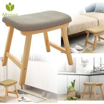 Reposapiés con cubierta extraíble, taburete ergonómico moderno de lujo, tapizado, pequeño, silla de casa, sofá de madera maciza