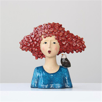 Colorful Character Statue Cat And Bird Leaning On Alice Statue Hotel Decoration Home Decoration Accessories A918
