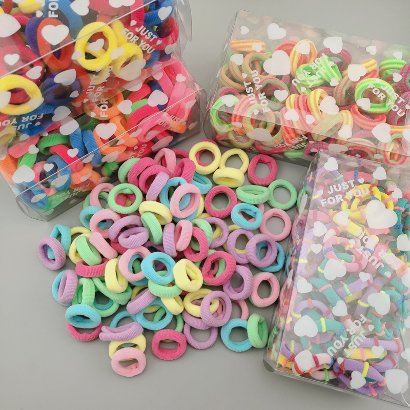 10//100Pcs Candy Elastic Ponytail Holder Girls Ribbon Hair Ties Knotted Hairband