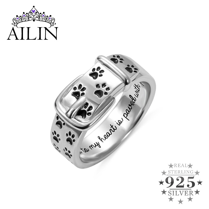 AILIN Personalized Engraving Ring Pet Collar Ring With Paws Pet Memorial Jewelry