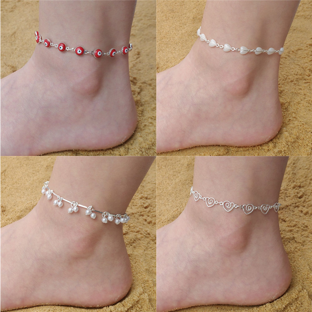 2019 Hot Silver <font><b>16</b></font> Styles Anklet Ankle Foot Chain Unique Gift Evil Eye Quality Lover Heart Desigh <font><b>Sexy</b></font> <font><b>Female</b></font> Lady AM017-032 image