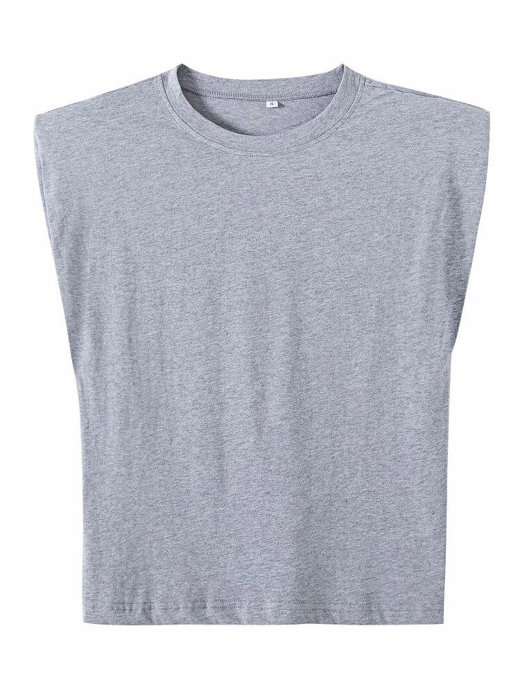 2020 Women za Fashion Solid 95% Cotton Shoulder pad T-shirt Vintage O-Neck Sleeveless Tops Casual Girls Streetwear 9
