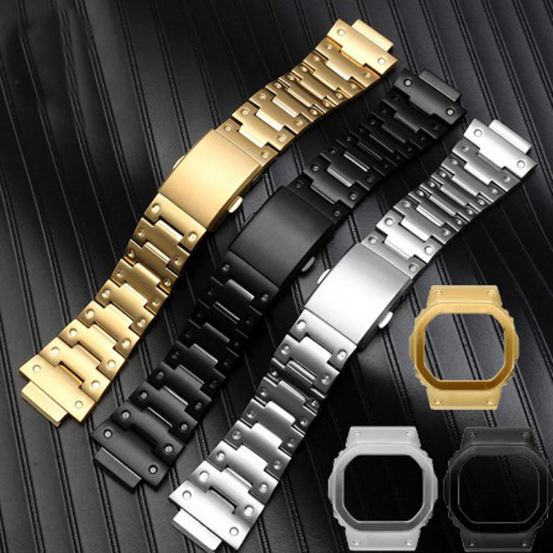 Solid stainless steel watchband for GW-M5610 DW5600 GW-5000 <font><b>DW</b></font>-5030 G-<font><b>5600</b></font> watch <font><b>band</b></font> and frame case solid metal bracelet image
