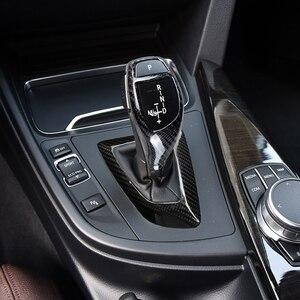 Image 3 - De fibra de carbono pomo de palanca de cambios manga cubre Botón de pegatinas para BMW F20 F30 F32 F10 F25 F15 F16 Interior accesorios RHD LHD