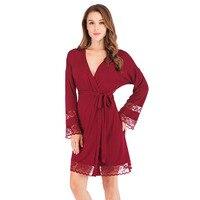 Lace Robe Women Dressing Gown Burgundy Lingerie Nightwear Kimono Bathrobe Gown Sexy Nightgown Sleepwear Home Clothing