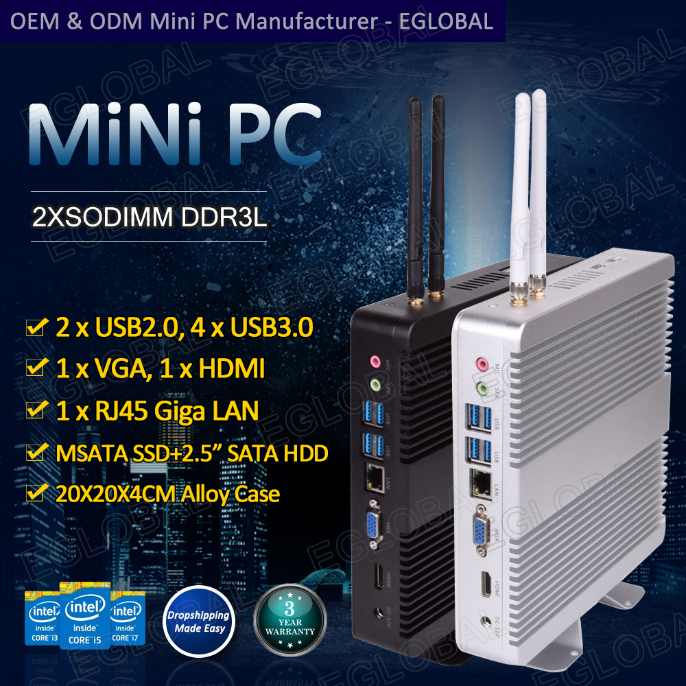 Cheap Windows 10pro Mini Pc Computer Intel Core I3/ I5/ I7/celeron  Desktop Computer WIFI HTPC Fanless VESA Mount