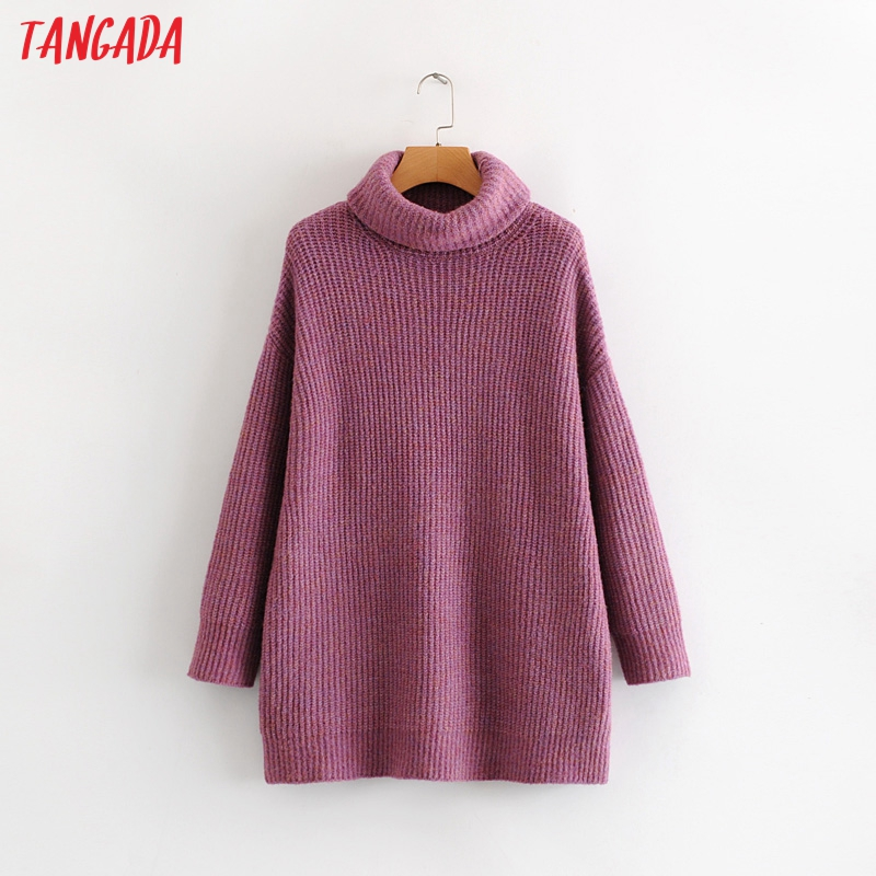 Tangada women jumpers turtleneck sweaters oversize winter fashion 19 long sweater coat batwing sleeve christmas sweate HY135 14
