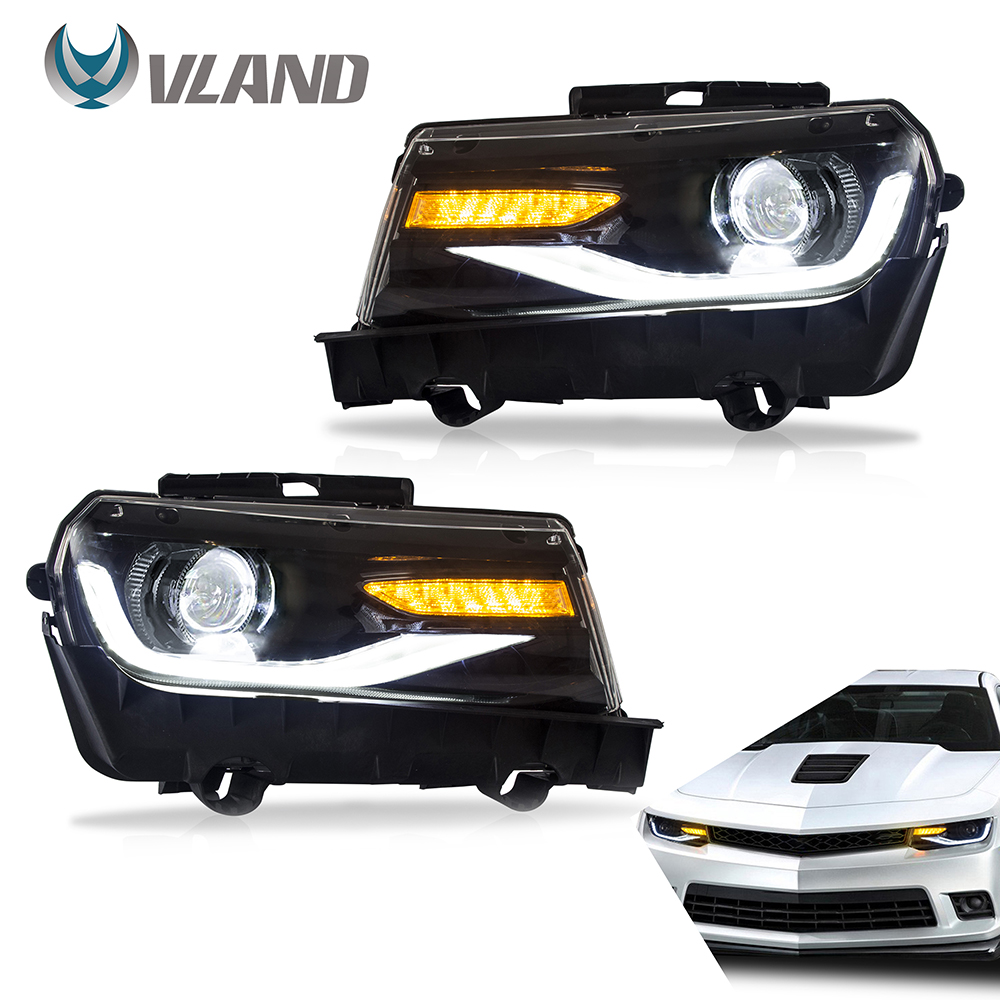 VLAND Headlamp Car Assembly For Chevy Camaro Chevrolet 5th Generation 2014 2015 Headlamp With Moving Turn Signal Dual Beam Lens