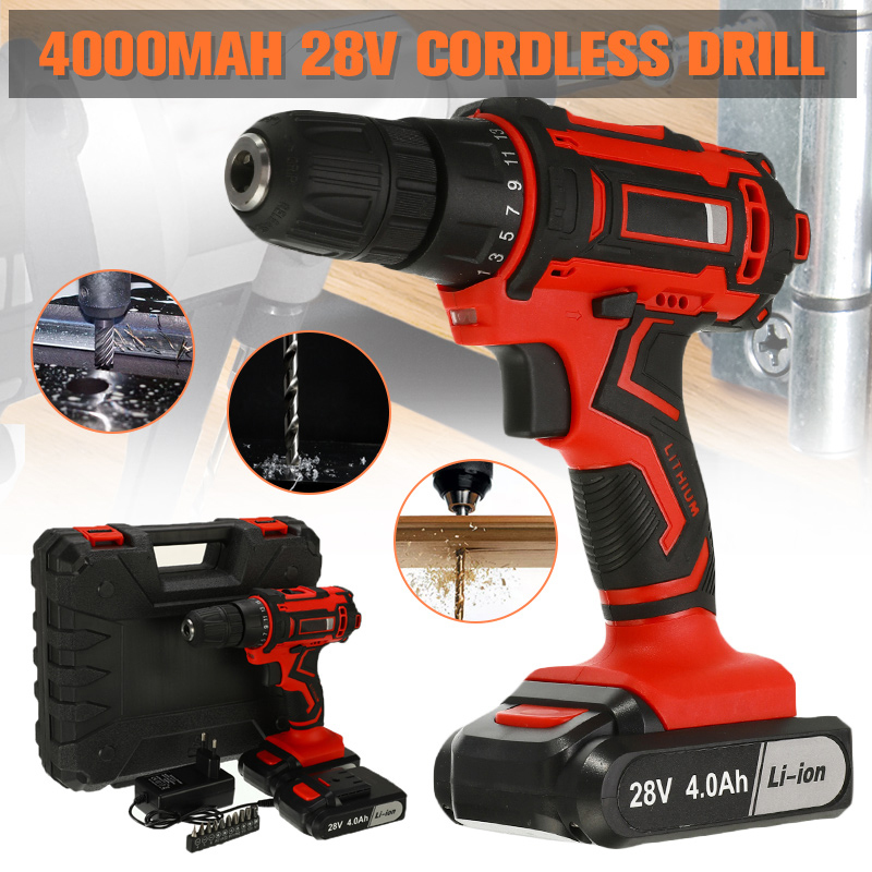 28V 3/8'' Electric Cordless Drill Driver Rechargeable Screwdriver Electric Drill Power Tools With 2 Lithium -Battery