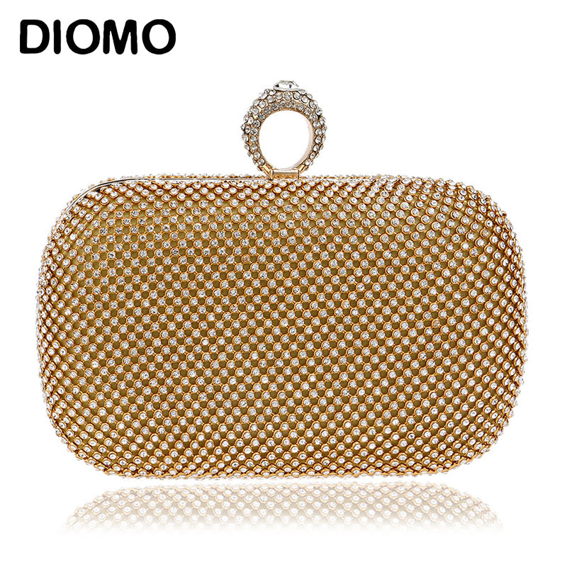 DIOMO Women Clutch Bag Diamond Luxury Purse Female Crystal Evening Bag Wedding Purse Party Banquet Black Gold Silver Two Chain