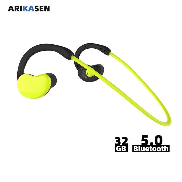 Arikasen sport MP3 Player headphone 32 GB waterproof bluetooth earphone 10 hours time wireless headset with micphone stereo