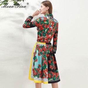 Image 4 - Модный дизайнерский комплект moaayina, Весенняя женская рубашка с длинным рукавом и цветочным принтом, Топы + юбка, элегантный праздничный комплект из двух предметов