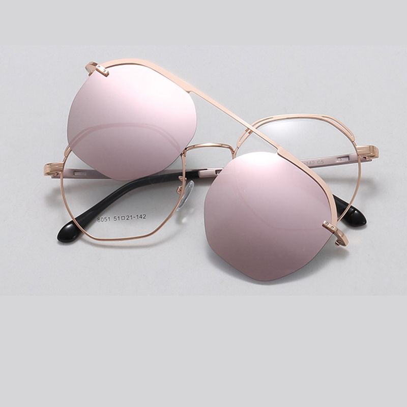 Pink Mirror Polarized Sunglasses Women's New High Quality Alloy Magnet Clip On Sunglasses Fashion Transparent Glasses 2020 Oculo