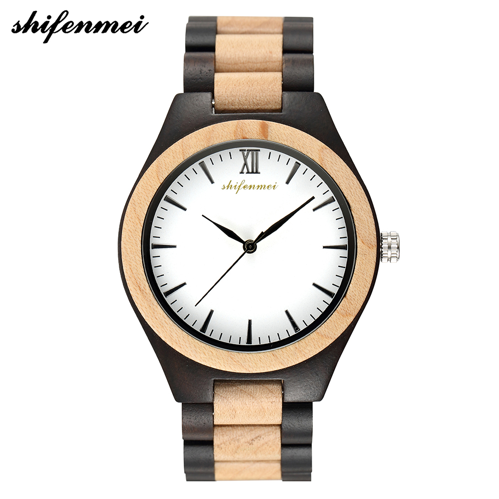 Shifenmei Watches Mens 2019 Creative Full Natural Wood Male Watches Handmade Bamboo Fashion Men Women Wooden Quartz WristWatch