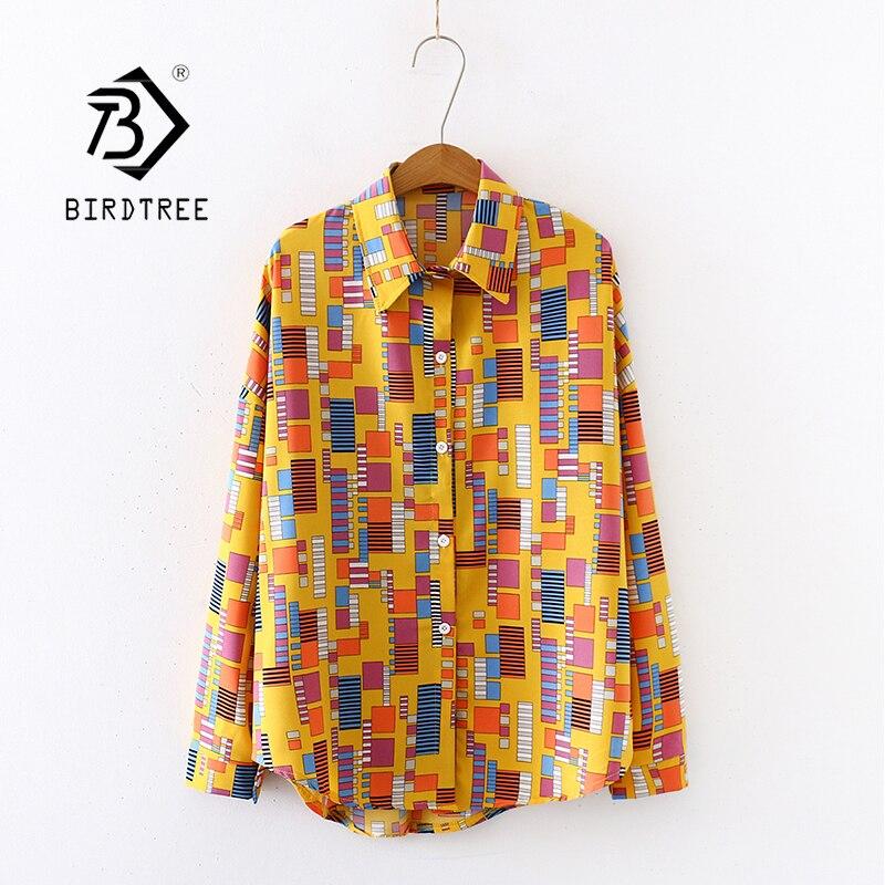 2020 Summer New Women Mosaics Print Chiffon Blouse Autumn Long Sleeve Yellow Shirt Vintage Oversize Tops Vintage Blusa T03203F
