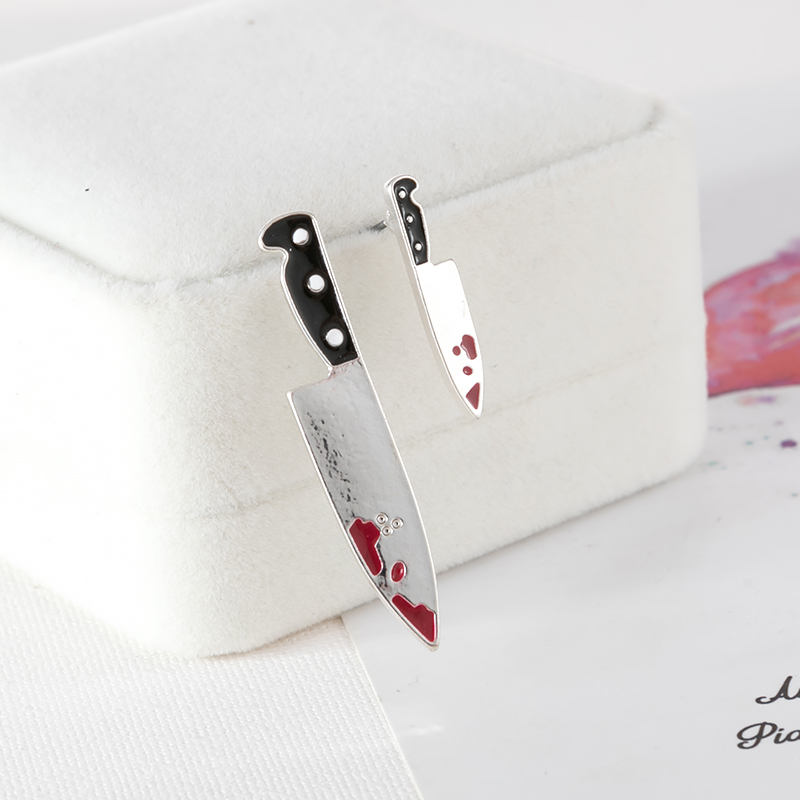 Punk girl harajuku killer broadsword earrings small male bloody knife asymmetric stud earrings jewelry accessories