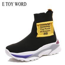 E TOY WORD high-top sneakers Breathable Elastic socks Shoes Female Fashion Thick sole Ladies Height increasing shoes