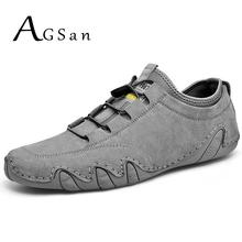 AGSan Men Shoes Sneakers Casual Genuine Leather Shoes Lace Up Driving Moccasins Autumn Winter Krasovki Men's Shoes Rubber Sole